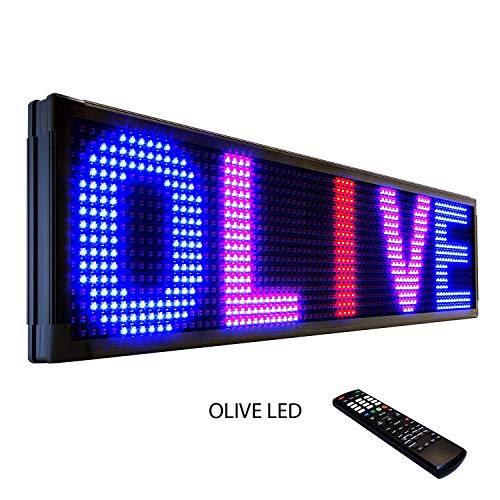 OLIVE LED Sign 3Color RBP, P26, 19″x52″ IR Programmable Scrolling Outdoor Message Display Signs EMC – Industrial Grade Business Ad machine.