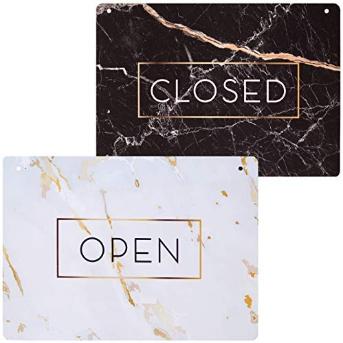 Open Sign for Business (Double Sided) – Elegant Open for Business Sign – Marble Themed Open Closed Sign for Business – Lightweight, Washable PVC Open Sign (8.25″ x 11.5″)