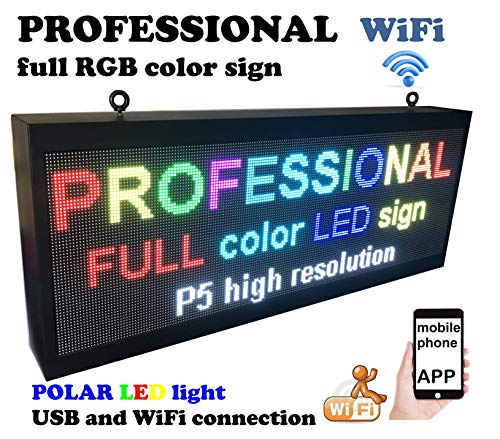 Professional Outdoor WiFi P5 high Resolution, Full LED RGB Color Sign 40″ x 16″ with high Resolution P5 192×64 dots and New SMD Technology. Perfect Solution for Advertising
