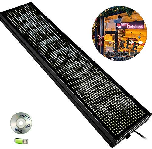 VEVOR Led Sign 40 x 8inch Led Scrolling Sign P10 White Digital Led Message Display Board Programmable by PC& WiFi & USB Bright with SMD Technology for Advertising and Business