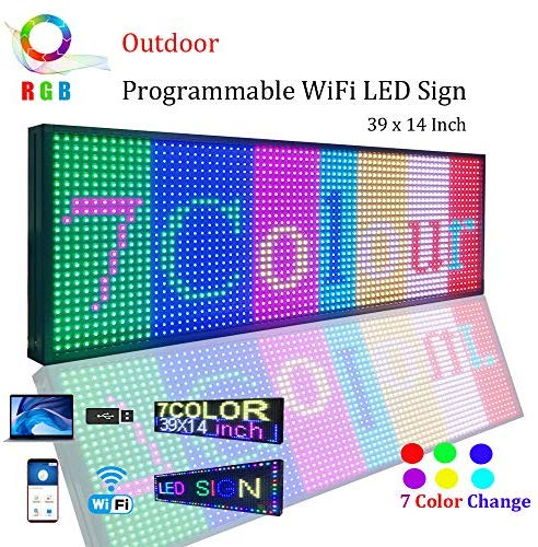 "WiFi LED Sign, Programmable LED Sign P13 SMD 7 Color Scrolling Led Signs 39″x14″ High Brightness Outdoor LED Advertising Display Board (P13 39""14"")"