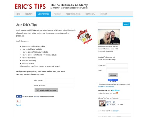 Eric's Tips – Internet Marketing Newsletter – Over 80,000 Subscribers!